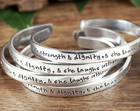 She is Clothed in Strength and Dignity, Bible Verse Bracelet, PROVERBS 31:25, Scripture Jewelry, Christian Bracelets, Gifts for Her