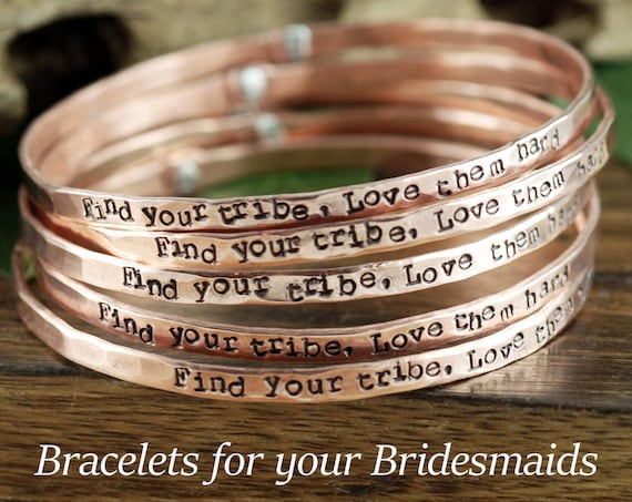 Bridesmaid Jewelry, Set of Bridesmaid Bangle Bracelets, Custom Stamped Bracelet Set, Gift For Bridal Party, Find your Tribe Love them Hard