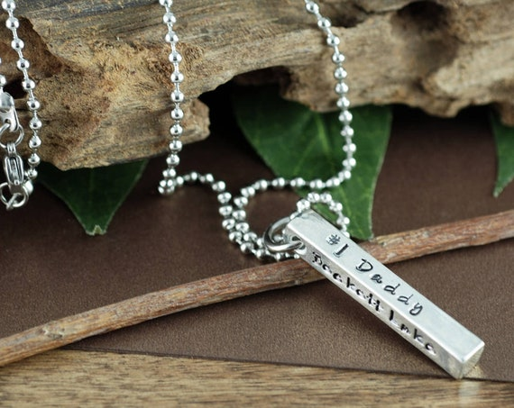 Personalized Men's Bar Necklace, 4 Sided Bar Men's Necklace, Men's Bar Necklace, Hand Stamped Pewter Necklace, Gift for Dad, Gift for Men