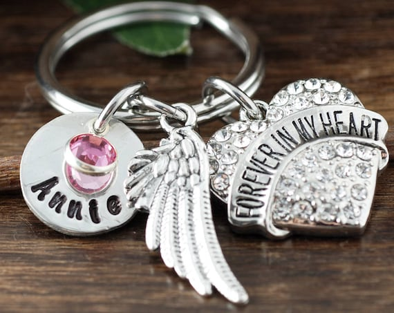 Forever in my Heart Keychain, Personalized Memorial Key Chain, Sympathy Gift, Loss of Loved One, Bereavement Gift, Remembrance Keychain