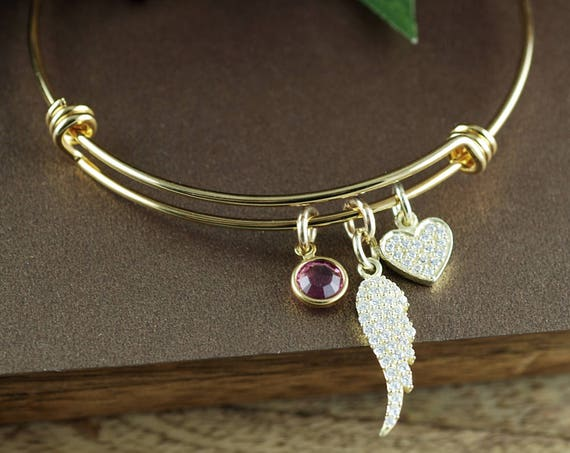 Memorial Bracelet, Remembrance Gift, Charm Bracelet, Miscarriage Bracelet, Crystal Heart Bracelet, Sympathy Gift, Adjustable Gold Bracelet