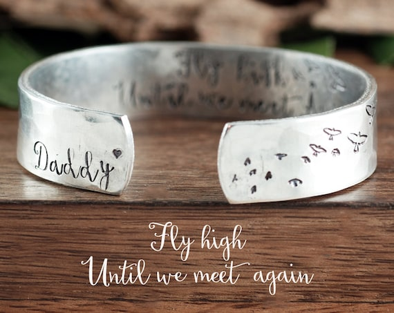 Memorial Cuff Bracelet, Fly High Until we Meet Again, Personalized Gift For Her, Sympathy Jewelry, Memorial Jewelry, Loss of Parent