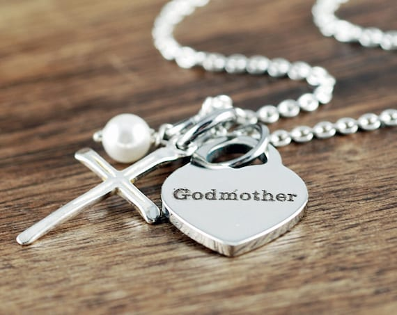Godmother Necklace, Godmother Jewelry, Gift For Godmother, Silver Cross Necklace, Faith Necklace, Mother's Day Gift, Godparent Necklace