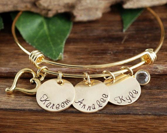 Name Charm Bracelet, Personalized Gold Name Bracelet with Birthstone, Birthstone Bracelet, Mother's Bracelet, Gift for Mom