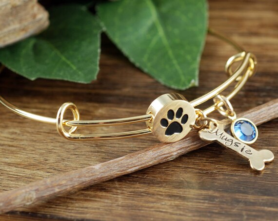 Gold Personalized Pet Bracelet, Dog Mom Bracelet, Dog Paw Bracelet, Dog Bone Jewelry, Gift for Dog Mom, Dog Lover Jewelry, Pet Name Bracelet