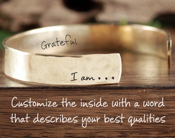 I am Custom Bracelet, Grateful Jewelry, I am Jewelry, Inspirational Cuff, Motivational Jewelry, Gift for Her, Secret Message Jewelry