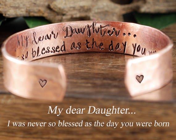 "Daughter Bracelet, Inspirational Jewelry for Daughter, Encouragement Bracelet, Quote Bracelet, Secret Message Jewelry, 1/2"" Cuff Bracelet"