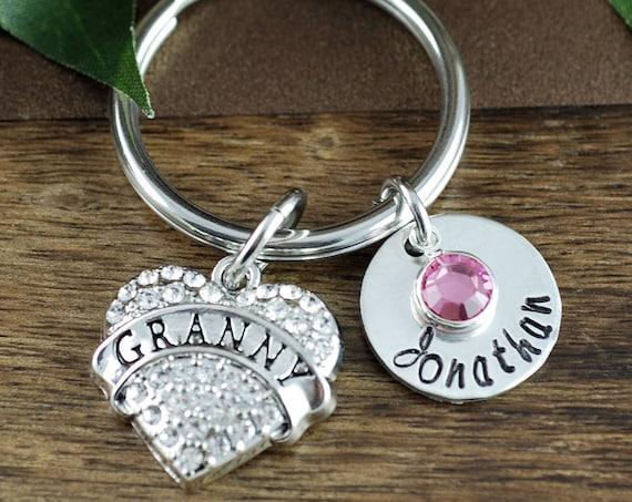 Grandma Keychain, Nana Keychain with Birthstones, Gift for New Grandma, Gift for Grandma, Keychain, Personalized Grandma Keychain