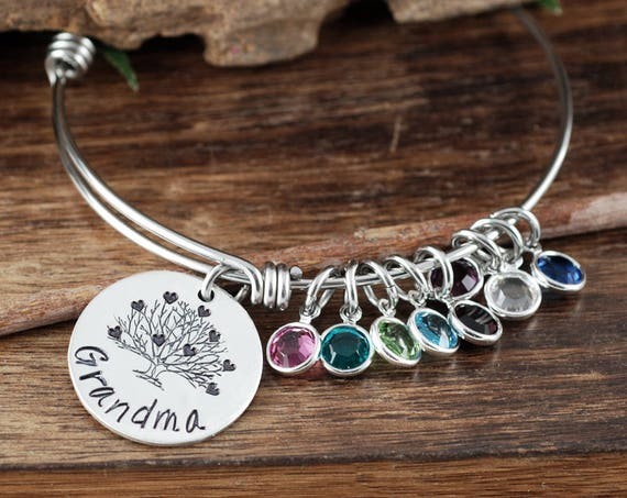 Grandma Bracelet,Personalized Birthstone Bracelet, Silver Charm Bracelet, Silver Family Bangle Bracelet, Mother's Day Gift, Gift for Grandma
