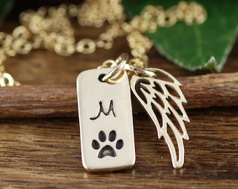 Personalized Pet Memorial Necklace, Dog Paw Jewelry, Angel Wing Necklace, Loss of Pet, Paw Print Necklace, Pet Memorial, Dog Mom Jewelry