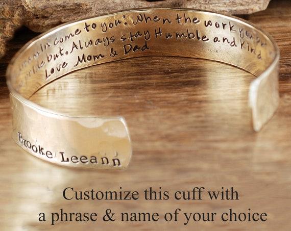 Custom Cuff Bracelet, Personalized Cuff_Bracelet, Personalized Gift For Her, Bracelet for Daughter, Inspirational Cuff Jewelry, Gift for her