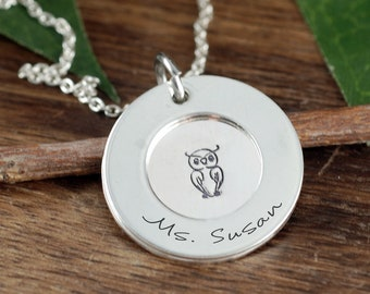 Thank you for Helping me Grow, Personalized Teacher Necklace, Teacher Gift, Teacher Jewelry, Owl Necklace, Appreciation Gift for Teacher