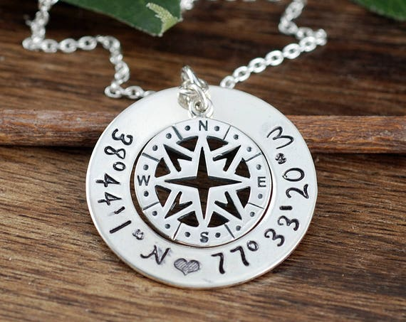 Silver Compass Necklace, Silver Coordinate Necklace, Location Necklace, Latitude Longitude Necklace, Coordinate Jewelry, Graduation Gift
