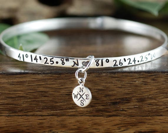 Silver Coordinate Bracelet, GPS Coordinate Bracelet, Silver Bangle Bracelet, Compass Bracelet, Latitude Longitude Bracelet, Location Jewelry