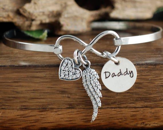 Loss of Father Bracelet, Angel Wing Bracelet, Infinity Bracelet, Bereavement Gift, Miscarriage Bracelet, Memorial Bracelet, Sympathy Gift