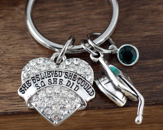 She believed She could Key chain, Graduation Keychain, Hand Stamped Keychain, Personalized Keychain, Gift for Graduate, Graduate Gift 2018