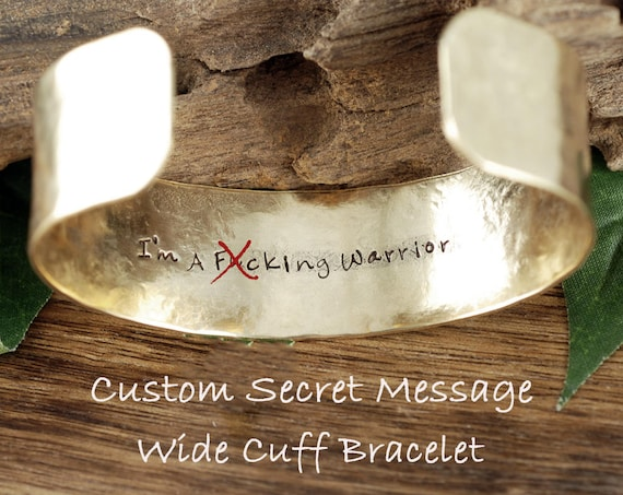 Inspirational Cuff Bracelet, Mental Health, Warrior Jewelry, Hand Stamped Cuff, Gift for Friend, Warrior Bracelet, Addiction Recovery