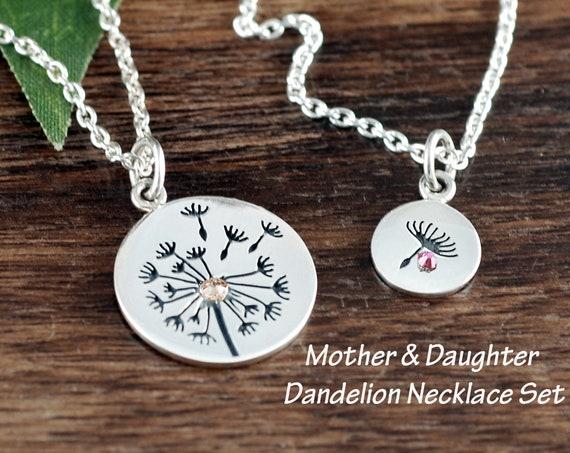 Dandelion Necklace, Mother Daughter Necklace Set, Mother's Day Gift, Wish Necklace, Dandelion Seeds, Dandelion Charm, Gift for Mom
