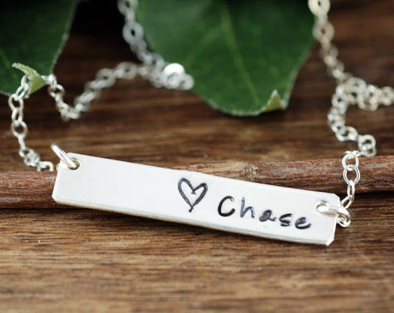 Sterling Silver Bar Name Necklace, Heart Necklace, Name Bar Jewelry, Skinny Bar Necklace, Minimalist Necklace, Mother Necklace, New Mom Gift