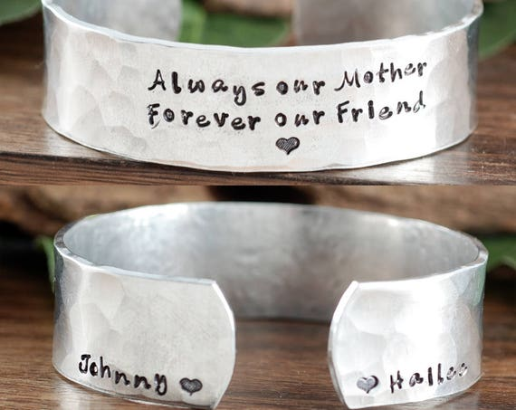 Mothers Cuff Bracelet, Always our Mother, Forever our Friend, Gift for Mom, Mothers Day, Personalized Cuff Bracelet, Mother Gift from Kids