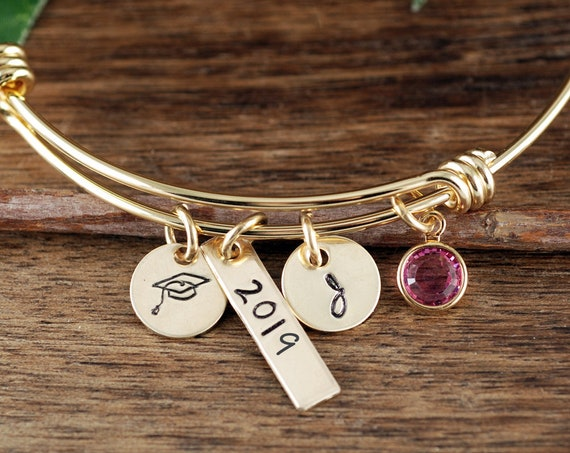 Gold Personalized Graduation Bracelet, Graduation Gift, Gifts for Graduate, College Graduate, Gift for Her, 2019 Graduation, Gift for Her