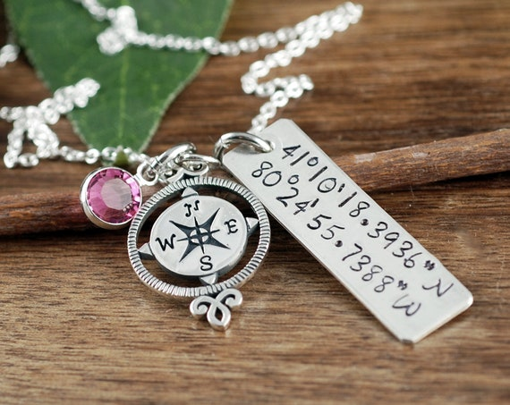 Personalized Coordinate Jewelry, Location Necklace, Longitude Latitude Necklace, Coordinate Necklace, Compass Jewelry, Graduation Gift