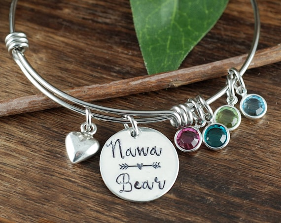 Nana Bear Bracelet, Grandma Bracelet, Personalized Birthstone Bracelet, Silver Charm Bracelet, Mother's Day Gift, Gift for Grandma