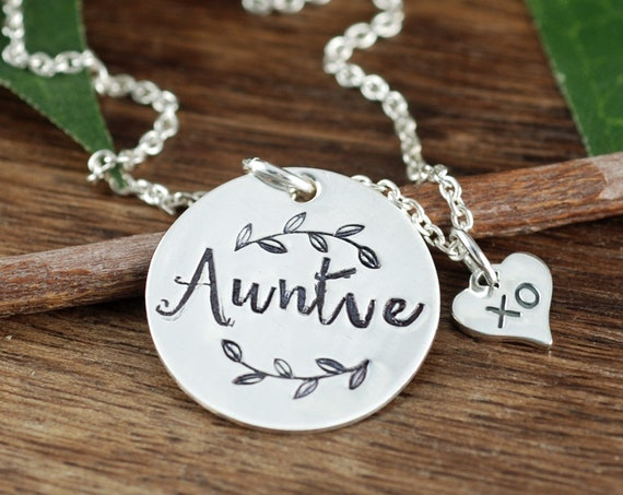 Auntie Necklace, Auntie Gift , Hand Stamped Necklace, Charm Necklace, XO Necklace, XO Gift, Gift for Her, New Aunt Gift, Aunt Gift