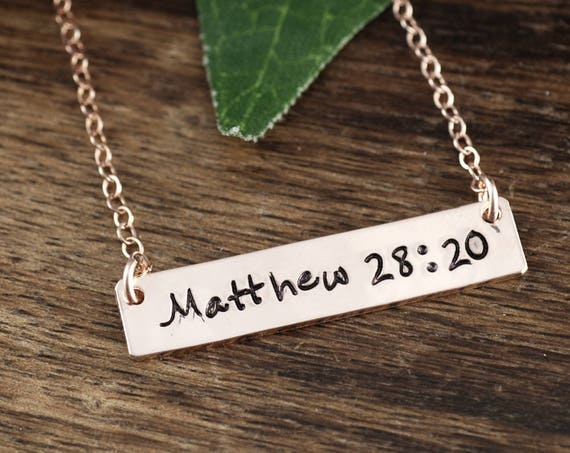 Inspirational Gift, I am With you Always, Scripture Necklace, Personalized Bible Verse Necklace, Matthew 28 20, Engraved Silver Bar Necklace