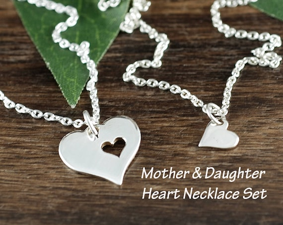 Mother Daughter Necklace Set, Mother's Day Gift, Silver Heart Necklace, Piece of my Heart Cut Our Necklace, Gift for Mom, Gift for Her