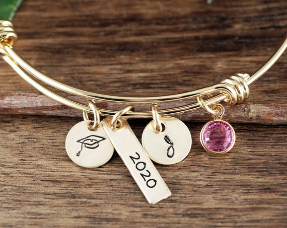 Gold Personalized Graduation Bracelet, Graduation Gift, Gifts for Graduate, College Graduate, Gift for Her, 2020 Graduation, Gift for Her