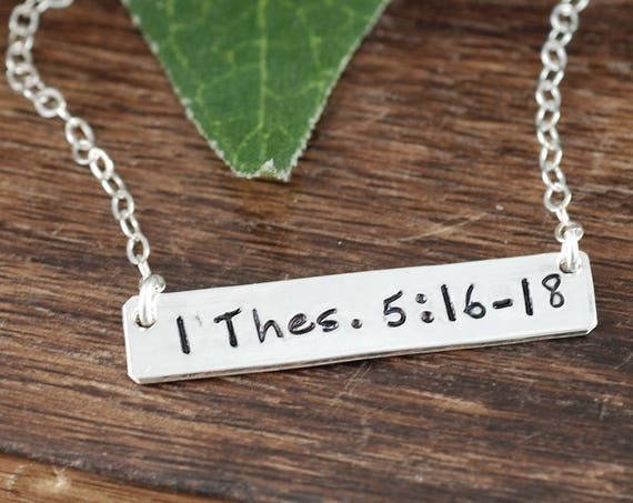 Personalized Bible Verse Bar Necklace, Thes 516, Pray Always Necklace, Layering Necklace, Scripture Necklace, Engraved Silver Bar Necklace
