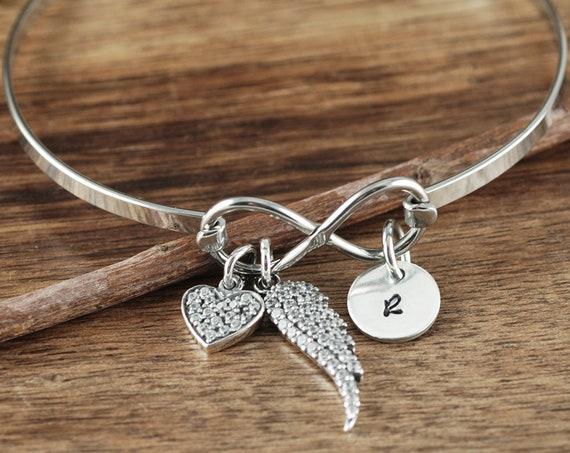 Infinity Bracelet, Remembrance Gift, Angel Wing Bracelet, Miscarriage Bracelet, Sympathy Gift, Memorial Bracelet, Sympathy Gift