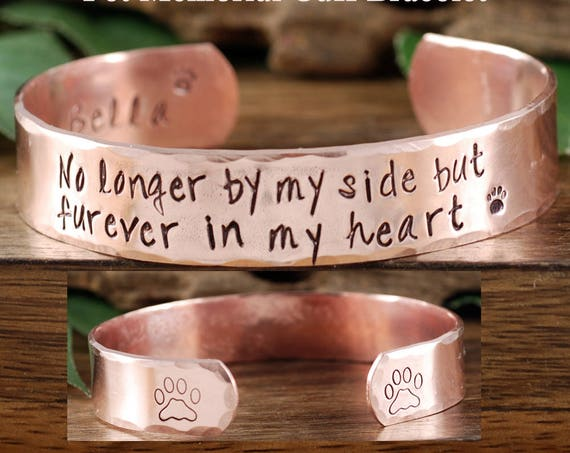 Pet Memorial Cuff Bracelet, Forever in my Heart, Personalized Gift For Her, Sympathy Jewelry, Memorial Pet Jewelry, Loss of Pet, Dog Paw