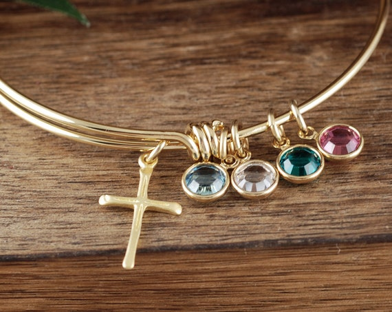 Gold Cross Charm Bracelet with Birthstones, Grandma Birthstone Bracelet, Personalized Birthstone Jewelry, Religious Bracelet, Faith Jewelry