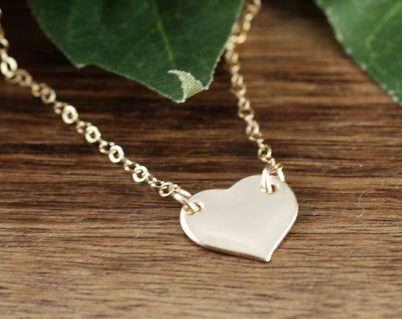 Dainty Heart Necklace, Love Necklace, Gold Initial Heart Necklace, Bridal Jewelry, Bridesmaids Gifts, Anniversary Necklace, Gift for Wife