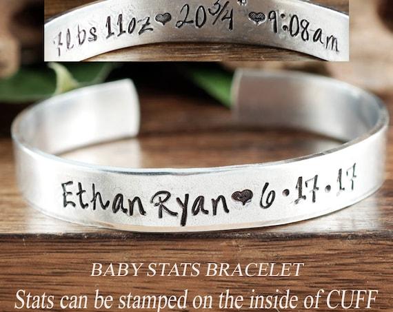 New mom Bracelet, Gift for Mom, Baby Stats Bracelet, Personalized Mom Bracelet, Custom Cuff Bracelet, Bracelet with Name, Mama Bracelet