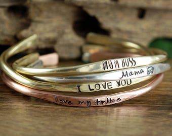 Mom Bracelet, Personalized Jewelry, Mothers Cuff, Custom Cuff Bracelets, Mothers Day Gift, Mama Bear Bracelet, Gift for Mom, Custom Cuff