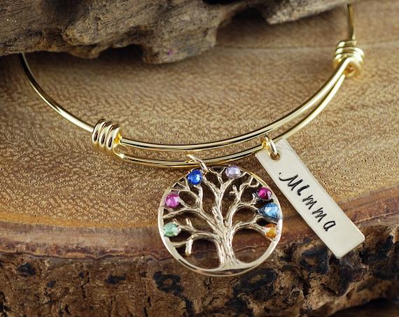 Gold Family Tree Bangle Bracelet, Personalized Birthstone Bracelet, Grandmother Bracelet, Gift for Grandma, Mothers Day Gift