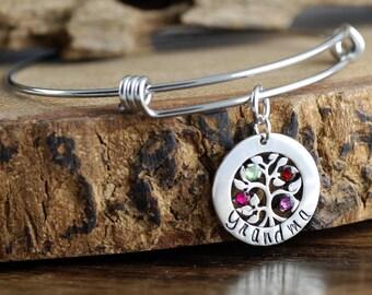 Grandmother Family Tree Bracelet, Tree of Life Birthstone Bracelet, Personalized Family Tree Bracelet, Gift for Grandma, Mothers Day Gift
