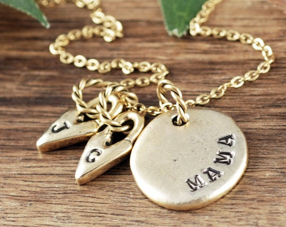 Personalized Gold Mom Necklace, Mother's Necklace, Heart Necklace, Gift for Mom, Personalized Mom Jewelry, Mama Jewelry, Mother's Day Gift