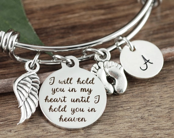 Personalized Memorial Bracelet, Sympathy Gift, Memorial Gift, Bereavement Jewelry, Miscarriage Jewelry, Miscarriage Bracelet, Angel Wing