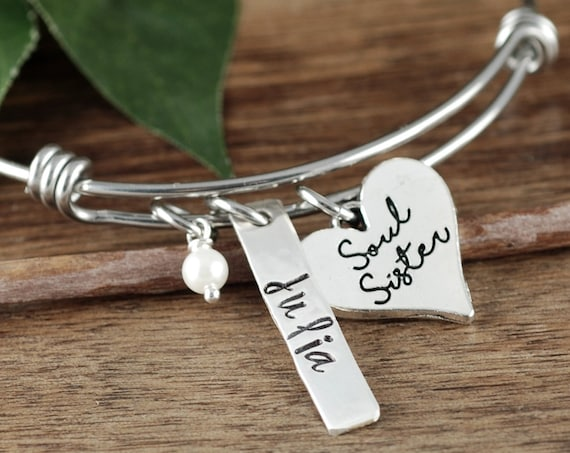Personalized Soul Sister Bracelet, Soul Sister Gift, Gift for Sister, BFF Bracelet, Gift for Best Friend, Soul Sister Jewelry, Gift for her