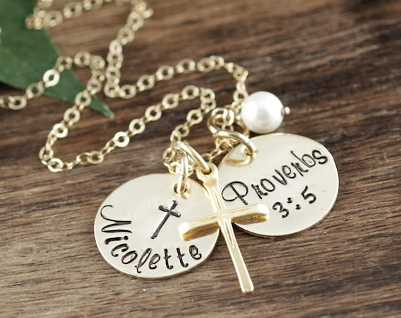 Gold Personalized Communion Necklace, Confirmation Jewelry, Gift for Girl, Communion Cross Pendant, Cross Necklace, Confirmation Gift