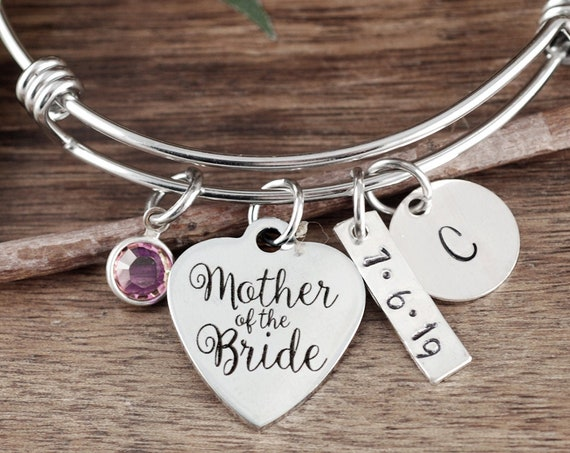 Personalized Mother of the Bride Gift, Mother of the Groom Bracelet, Maid of Honor Gift, Wedding Keepsake Gift, Gifts for Bridesmaids
