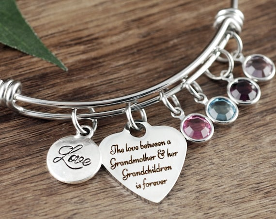 Grandmother Bracelet Birthstones, Gift or Grandma, Birthstone Charm Bracelet, Grandma Bracelet, Grandmother Gifts, Bracelet for Grandma