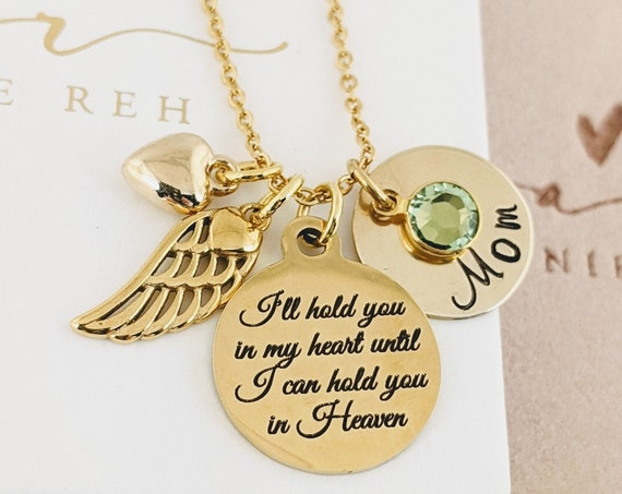 I'll hold you in my heart until I Hold you in Heaven, Personalized Memorial Necklace, Remembrance Necklace, In Memory Of, Loss of Parent