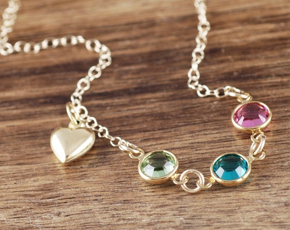 Birthstone Heart Necklace, Heart Jewelry, Necklace for Her, Gold Heart Jewelry, Mom Necklace, Mother's Necklace, Valentines Gift for Mom