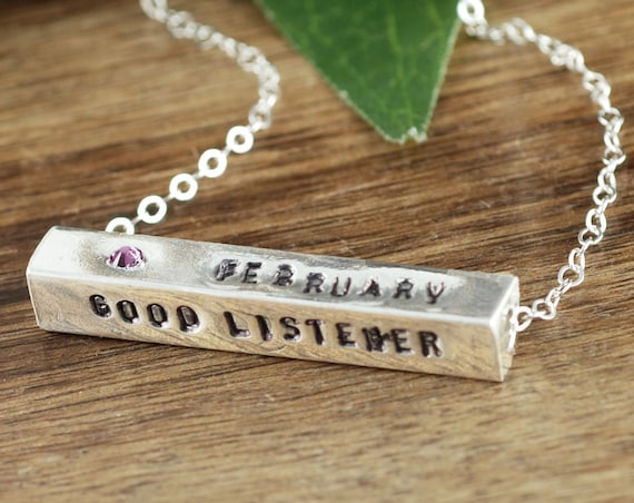 Birthstone Bar Necklace, 4 Sided Bar Necklace, Inspiration Necklace, Positive Word Jewelry, Affirmation Jewelry, Gift for Her, Positive GIft