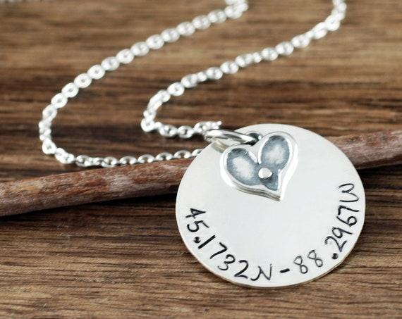 Custom Coordinate Necklace, Latitude Longitude Necklace, Location Jewelry, Coordinate Jewelry For Women, Sterling Silver Coordinates